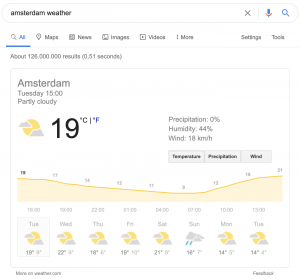 The rich snippet Google uses to show weather results.